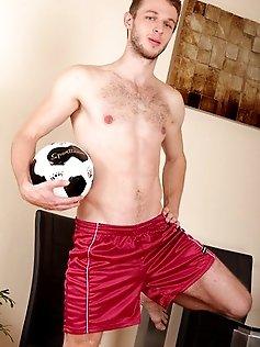 Athletic guy Ivan Filip jerks off after soccer...