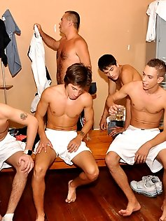 Horny gay daddy seduces his twink football team