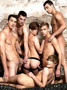 Wild gay Benjamin and his buddies poke cocks in...