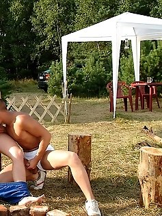 Outdoor camping leads to hot gay threeway.